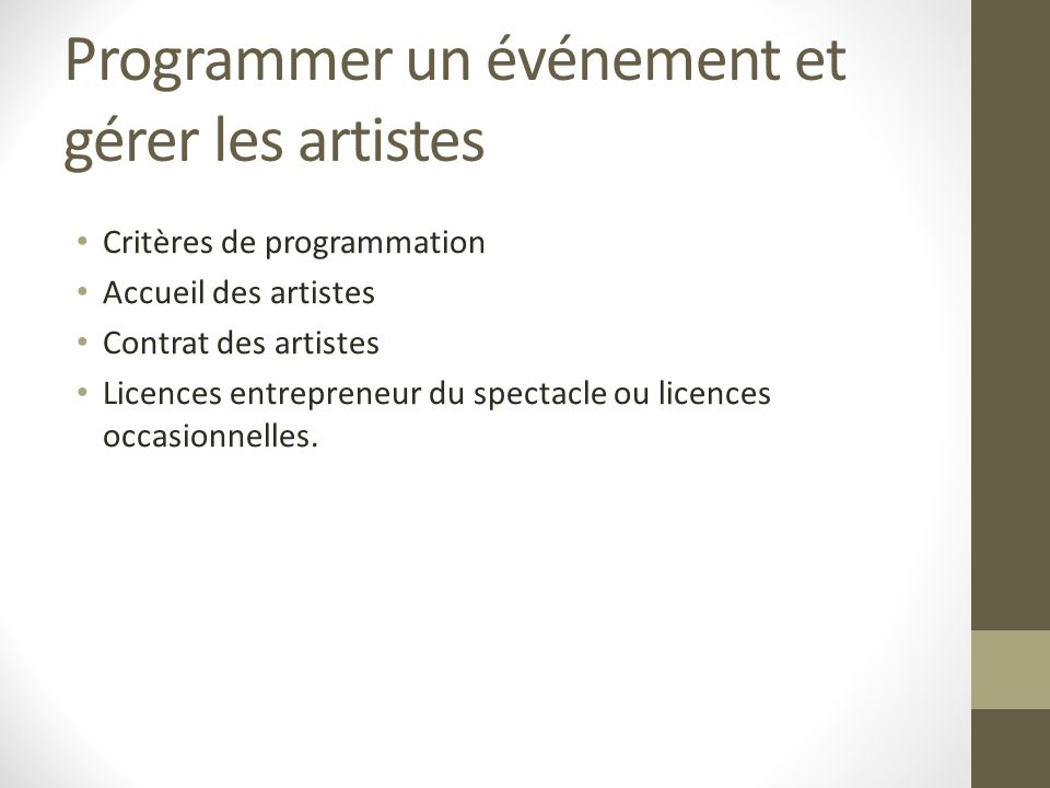 Programmer un événement et gérer les artistes