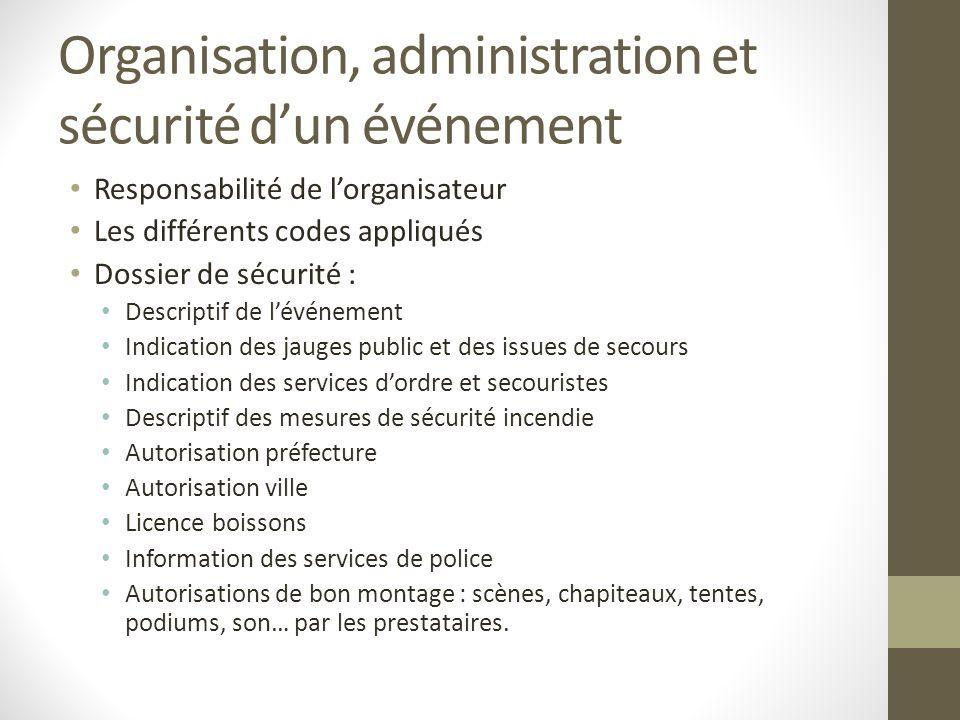 Organisation, administration et sécurité d'un événement