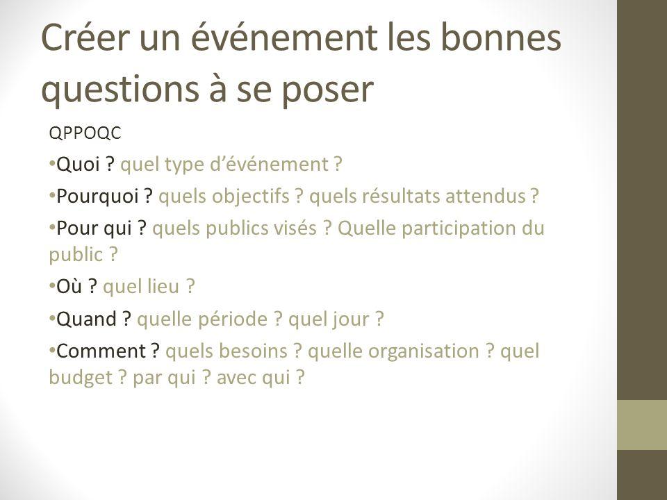 Créer un événement les bonnes questions à se poser