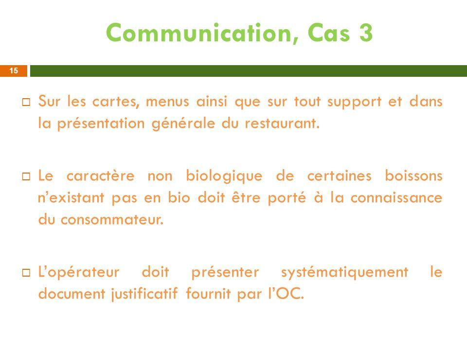 Communication, Cas 3 Sur les cartes, menus ainsi que sur tout support et dans la présentation générale du restaurant.