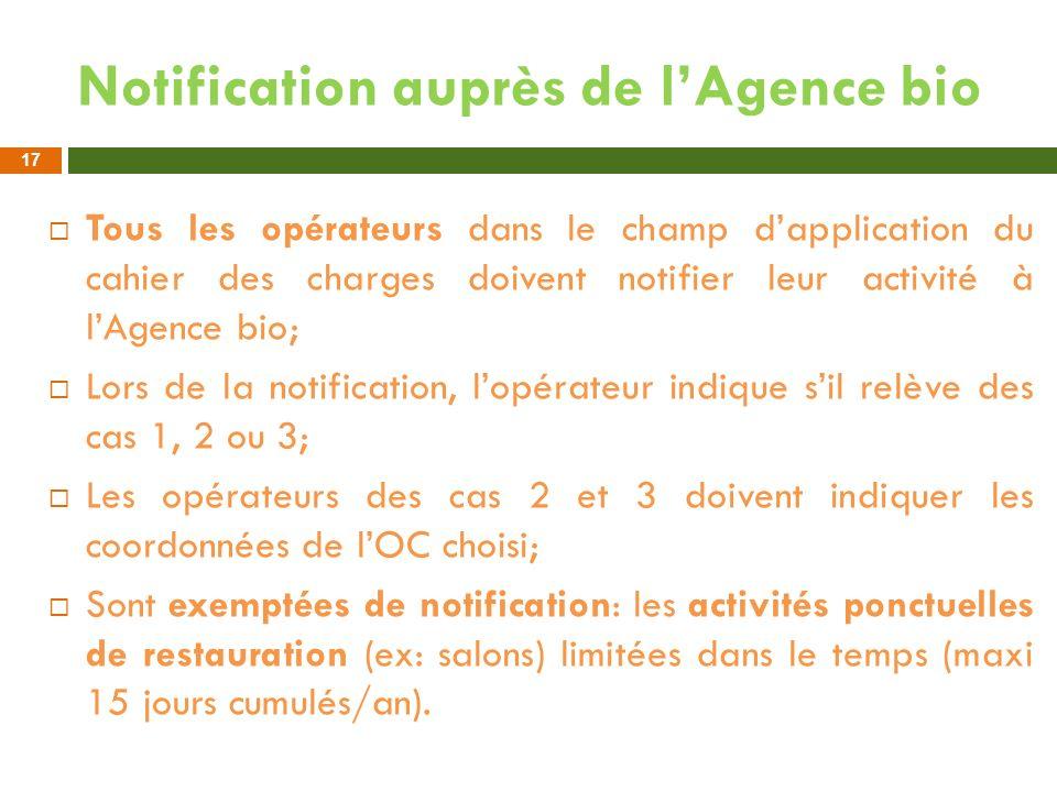 Notification auprès de l'Agence bio