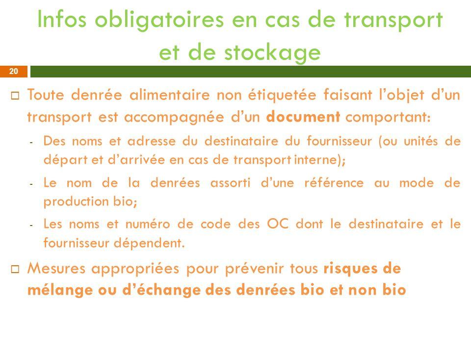 Infos obligatoires en cas de transport et de stockage
