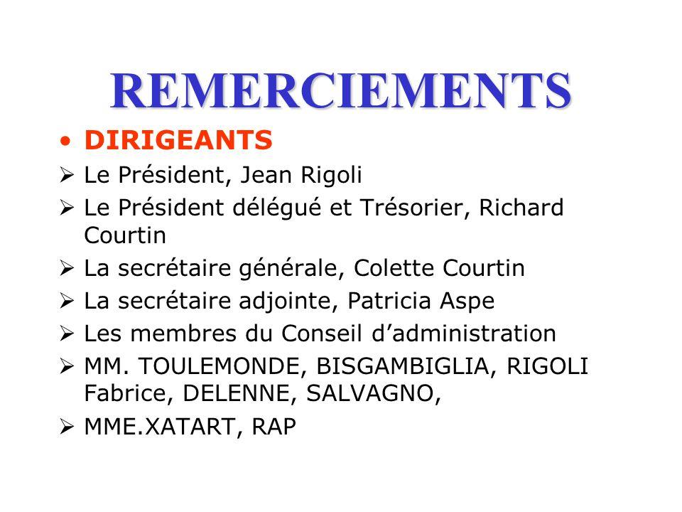 REMERCIEMENTS DIRIGEANTS Le Président, Jean Rigoli