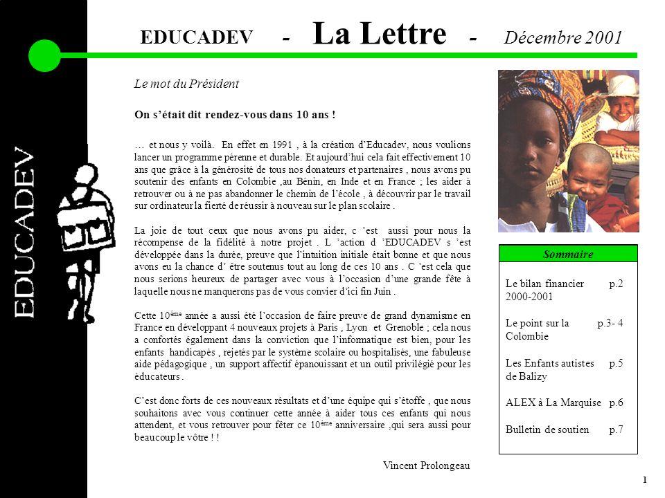 EDUCADEV - La Lettre - Décembre 2001