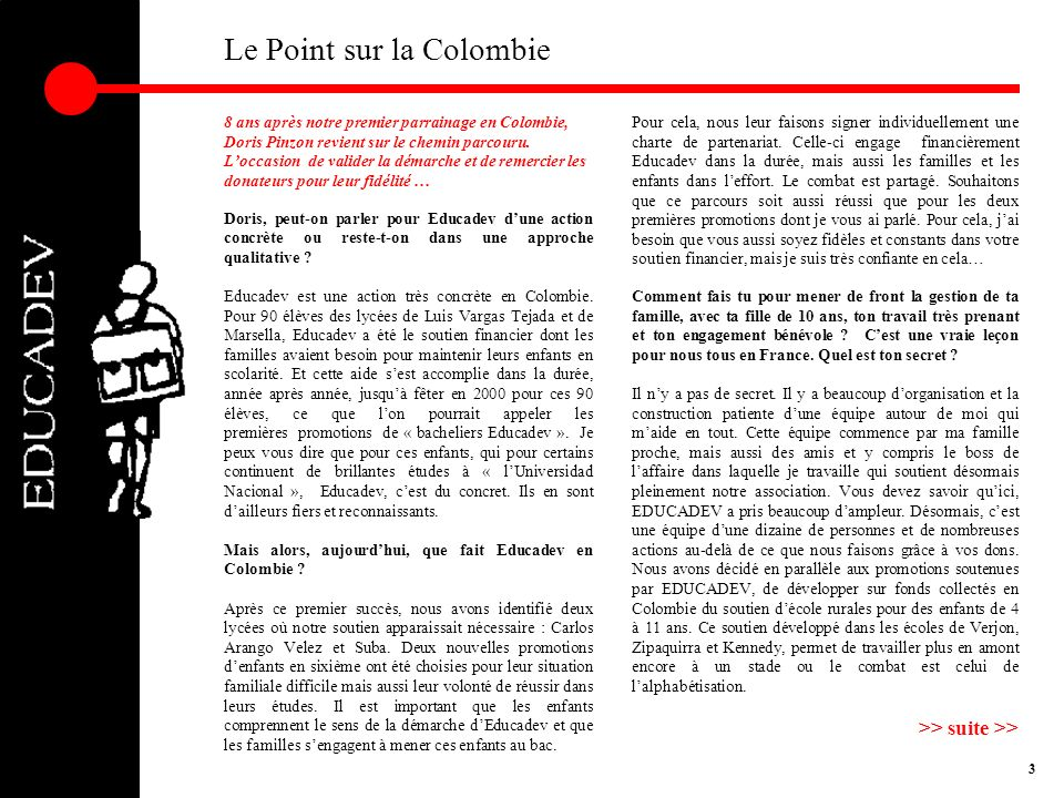 Le Point sur la Colombie