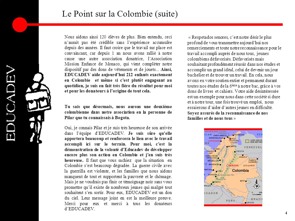 Le Point sur la Colombie (suite)