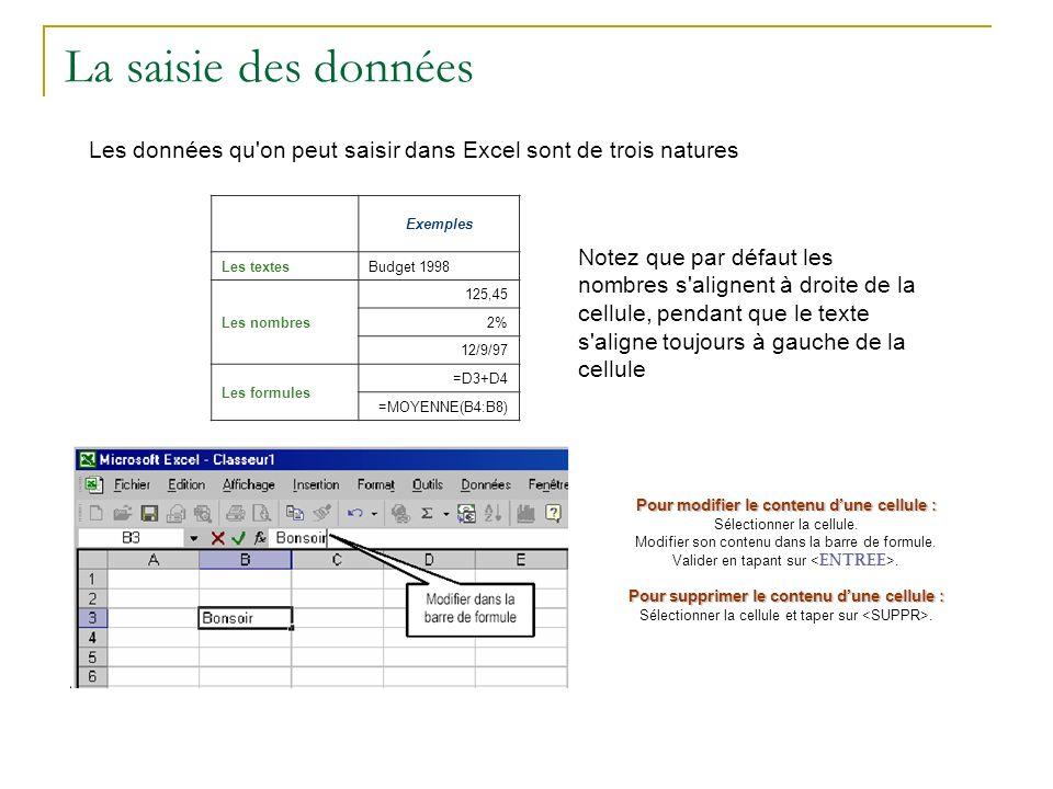 La saisie des données Les données qu on peut saisir dans Excel sont de trois natures. Exemples. Les textes.