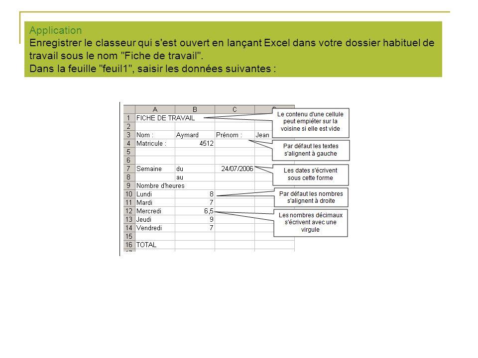 Application Enregistrer le classeur qui s est ouvert en lançant Excel dans votre dossier habituel de travail sous le nom Fiche de travail .