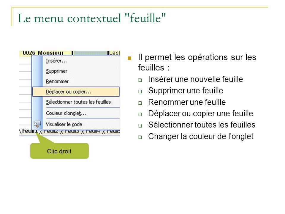 Le menu contextuel feuille