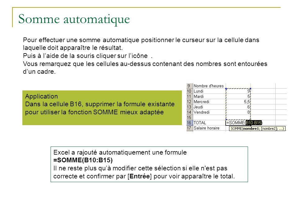 Somme automatique Pour effectuer une somme automatique positionner le curseur sur la cellule dans laquelle doit apparaître le résultat.