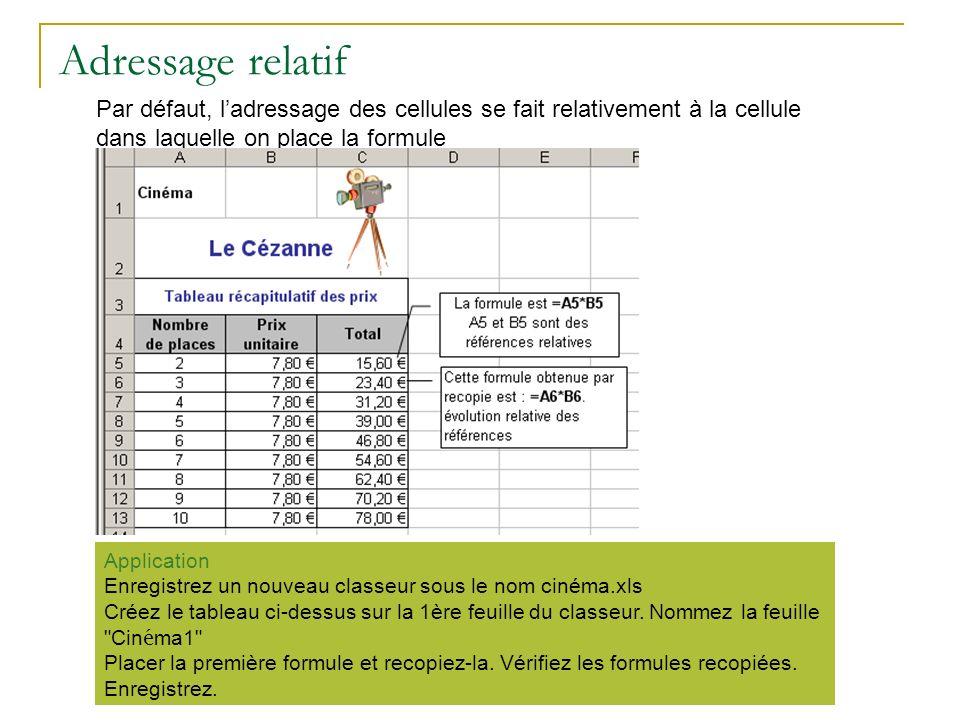 Adressage relatif Par défaut, l'adressage des cellules se fait relativement à la cellule dans laquelle on place la formule.