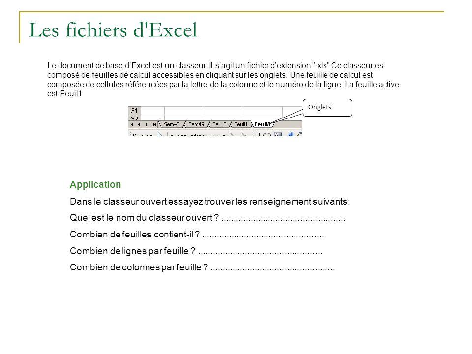 Les fichiers d Excel Application