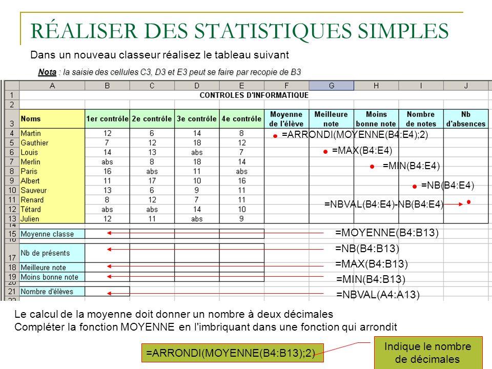 RÉALISER DES STATISTIQUES SIMPLES