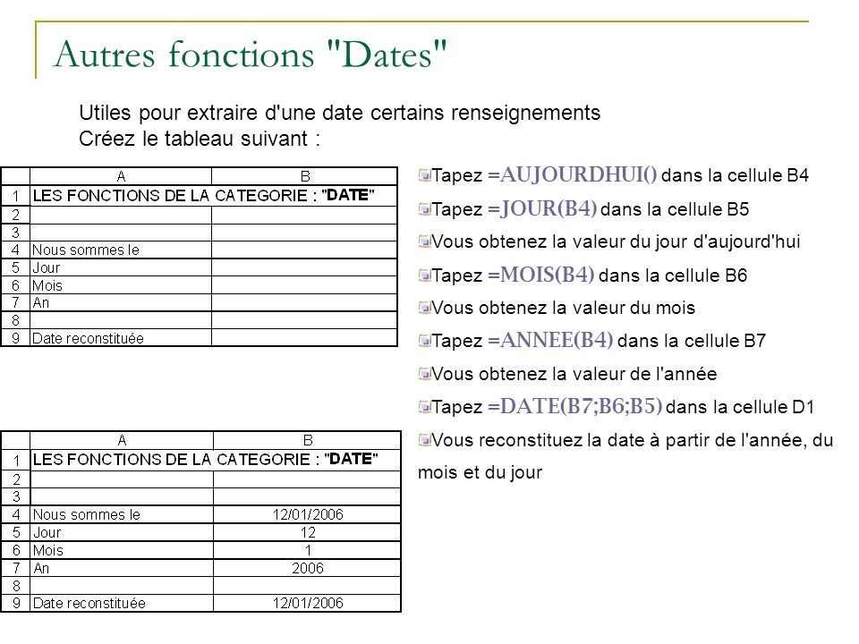 Autres fonctions Dates