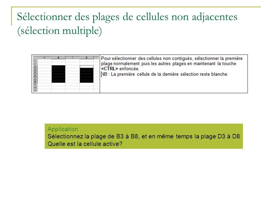 Sélectionner des plages de cellules non adjacentes (sélection multiple)