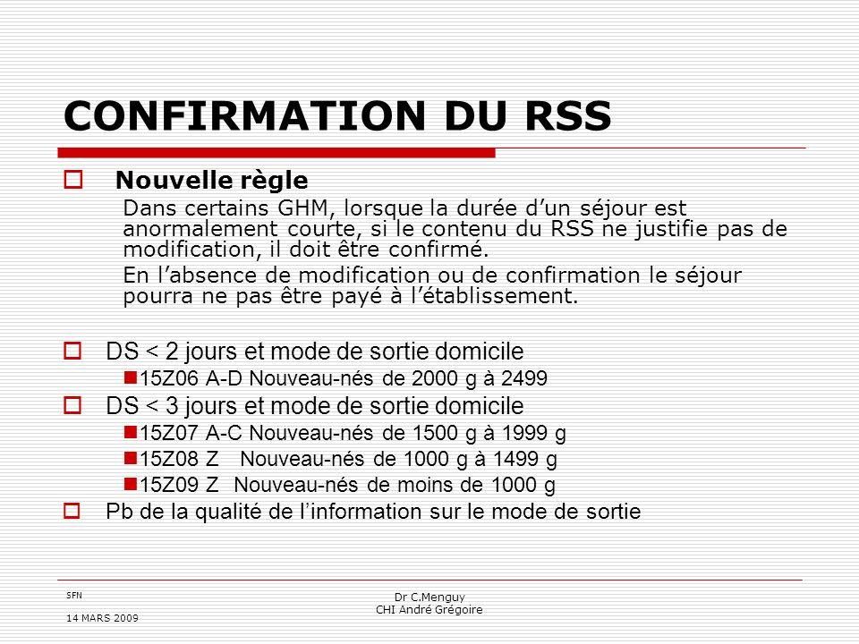 CONFIRMATION DU RSS Nouvelle règle