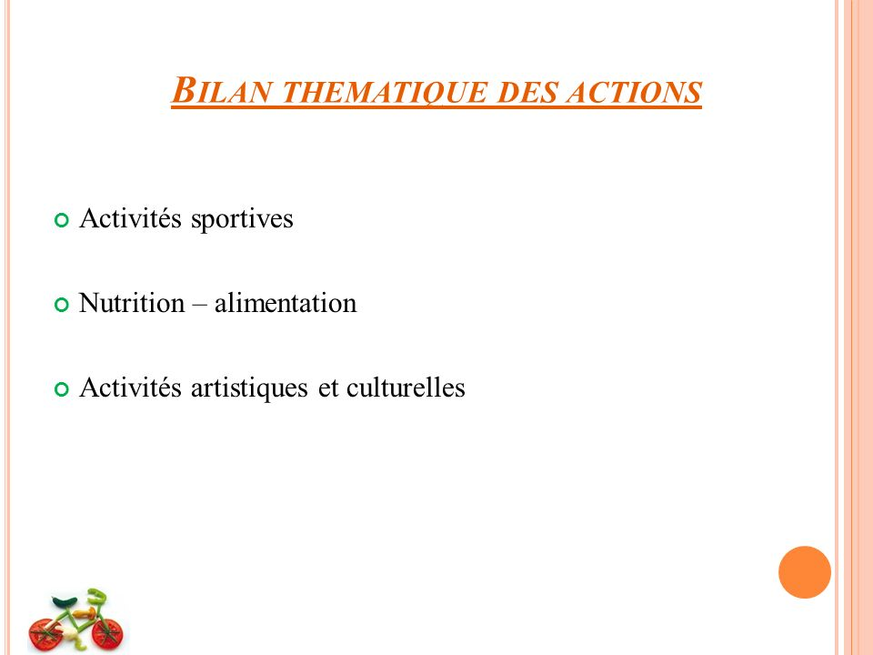 Bilan thematique des actions