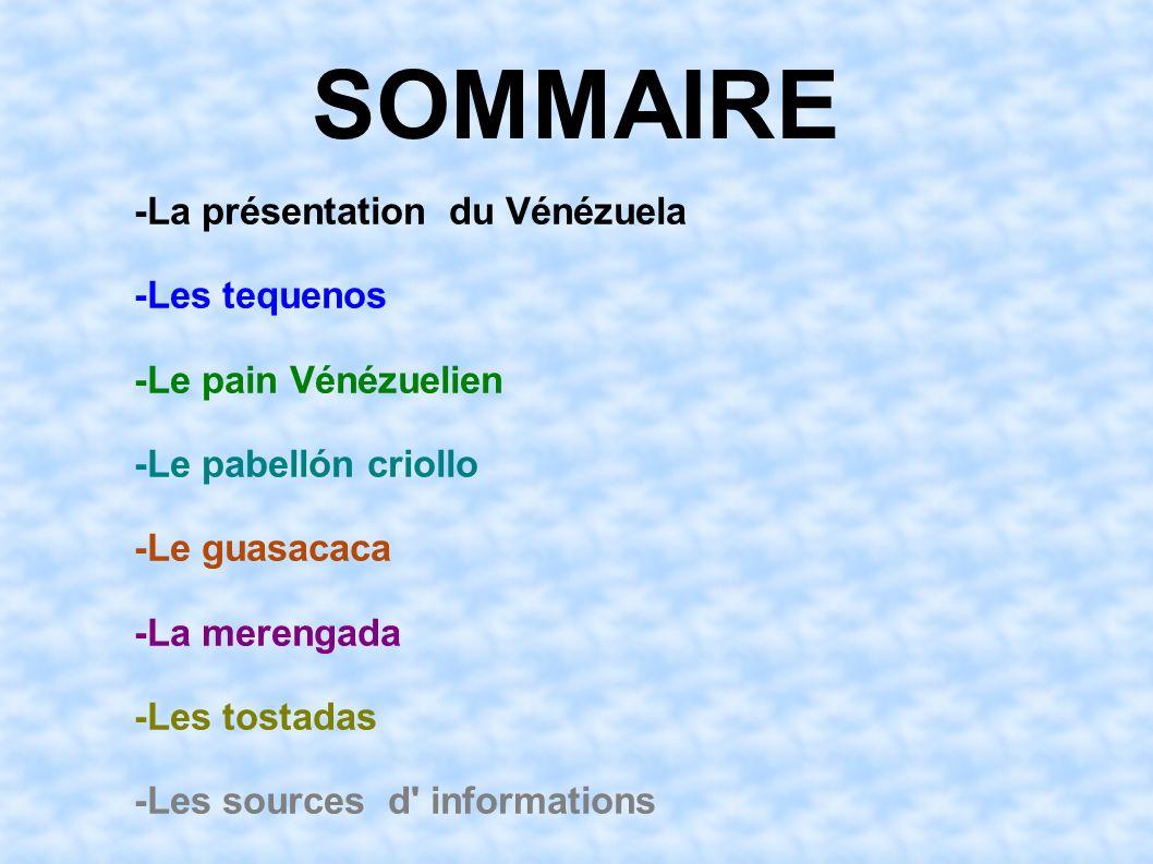 SOMMAIRE -La présentation du Vénézuela -Les tequenos