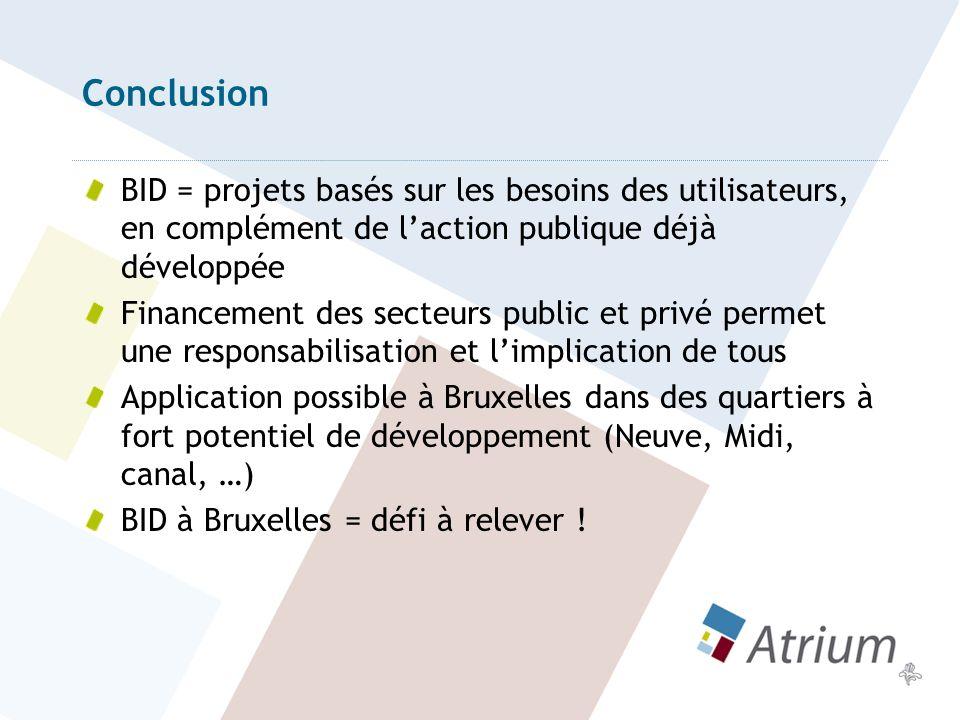 Conclusion BID = projets basés sur les besoins des utilisateurs, en complément de l'action publique déjà développée.