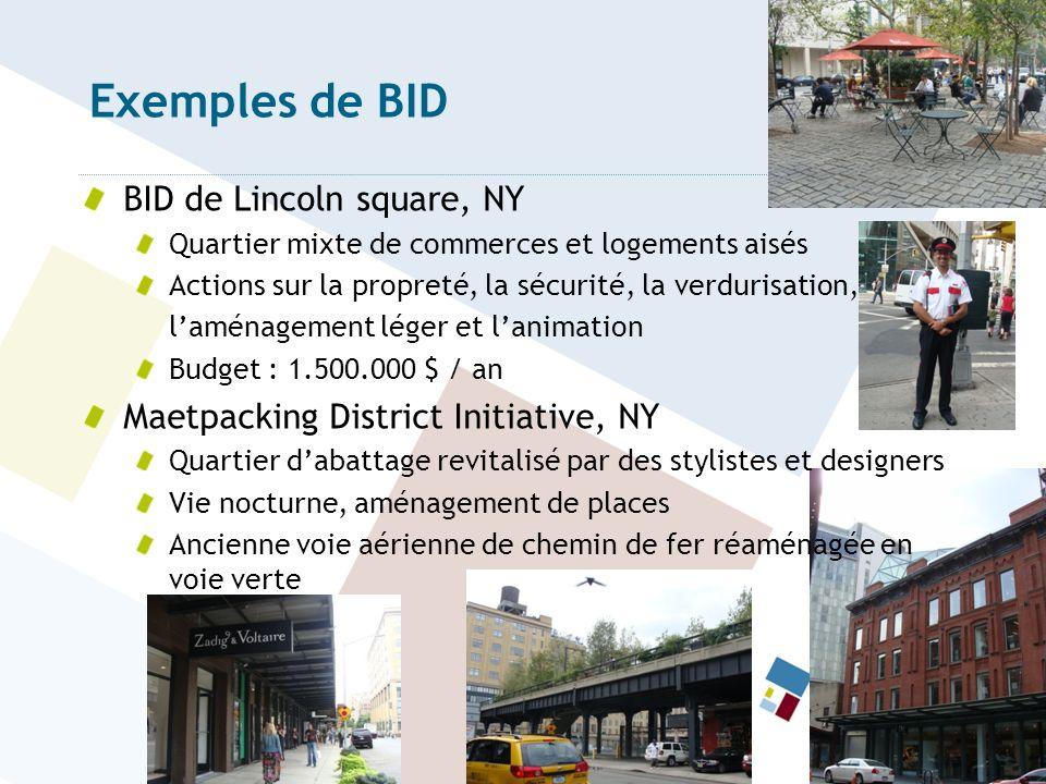 Exemples de BID BID de Lincoln square, NY
