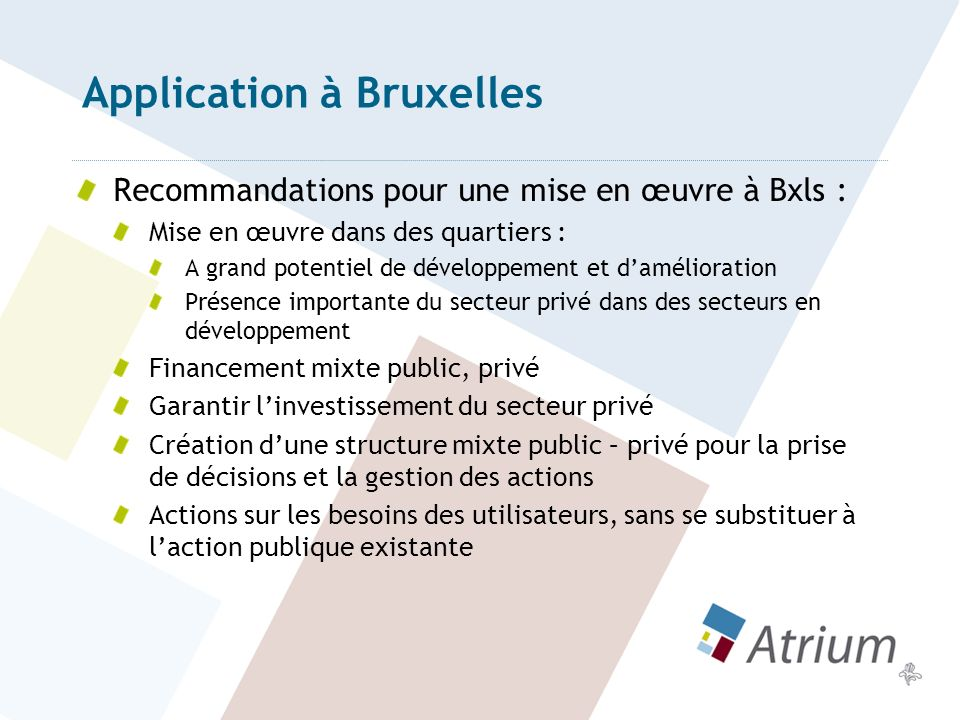Application à Bruxelles