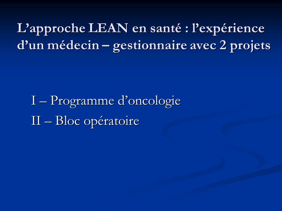 L'approche LEAN en santé : l'expérience d'un médecin – gestionnaire avec 2 projets