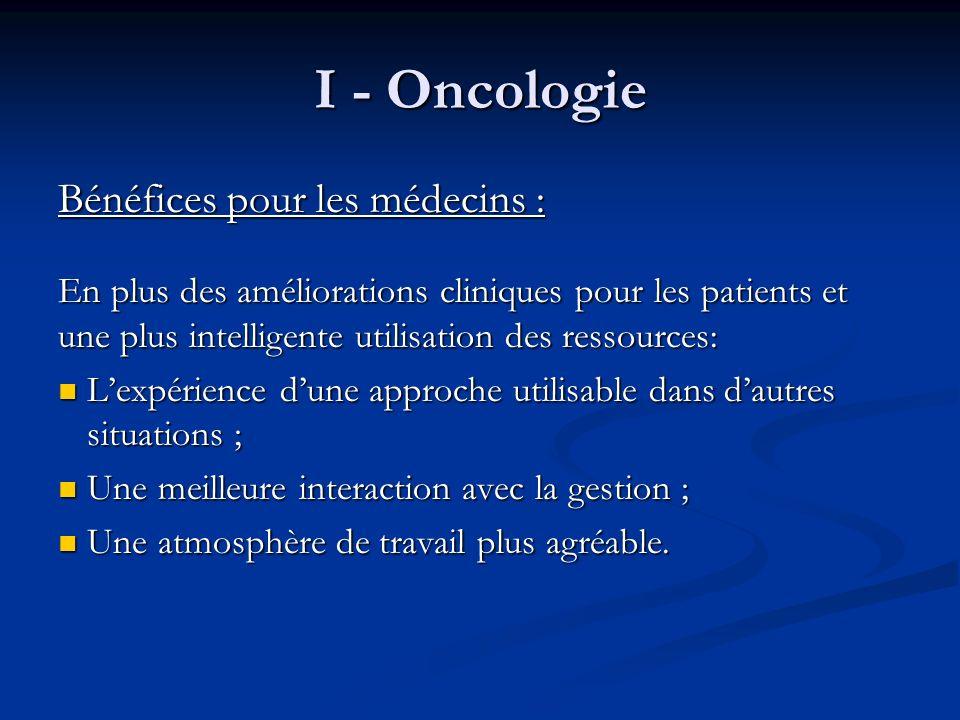 I - Oncologie Bénéfices pour les médecins :