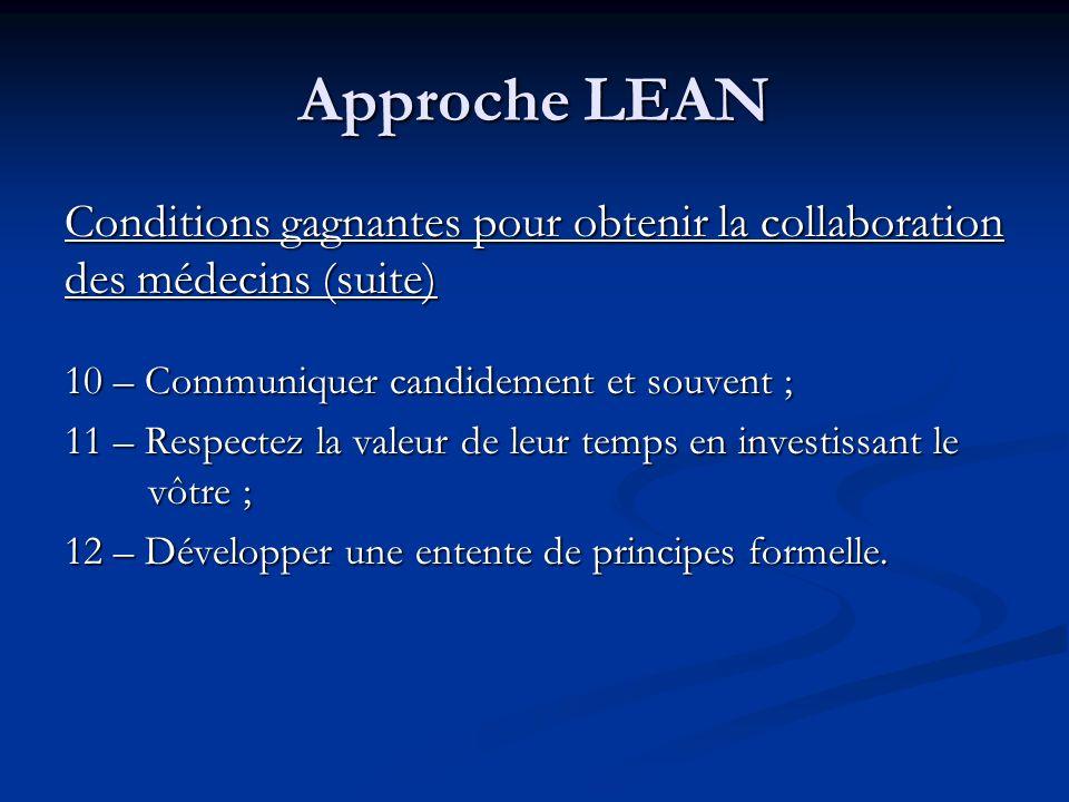 Approche LEAN Conditions gagnantes pour obtenir la collaboration des médecins (suite) 10 – Communiquer candidement et souvent ;