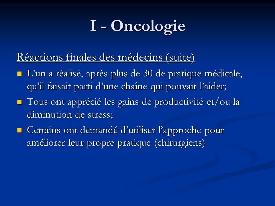 I - Oncologie Réactions finales des médecins (suite)