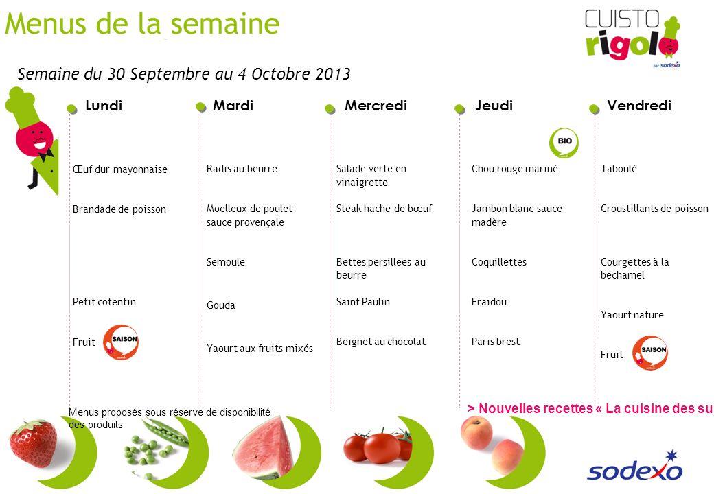 Semaine du 30 Septembre au 4 Octobre 2013