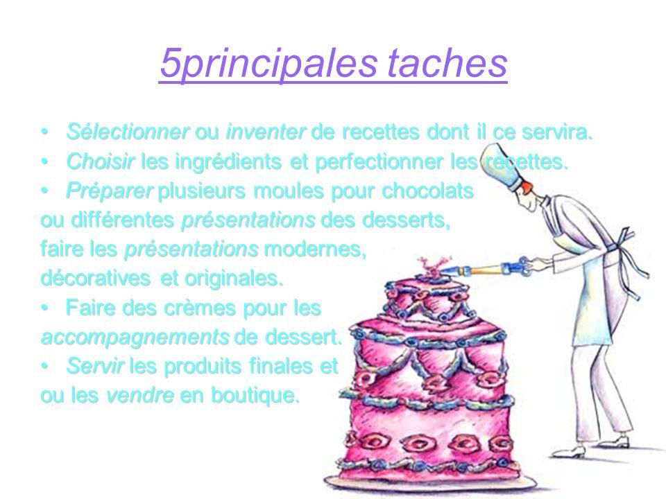 5principales taches Sélectionner ou inventer de recettes dont il ce servira. Choisir les ingrédients et perfectionner les recettes.
