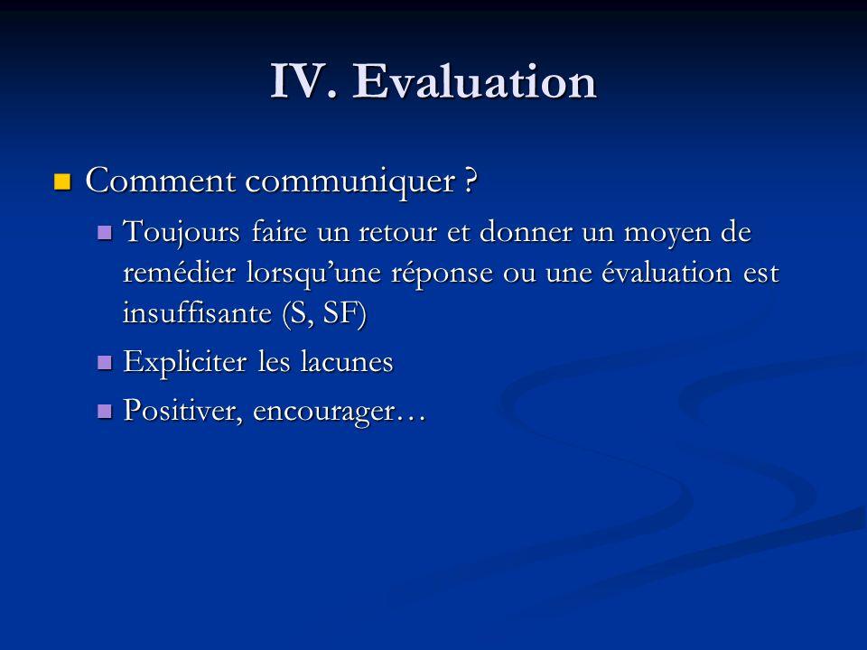 IV. Evaluation Comment communiquer