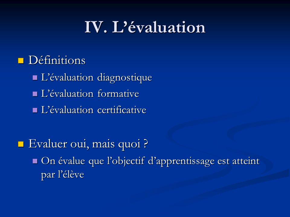 IV. L'évaluation Définitions Evaluer oui, mais quoi