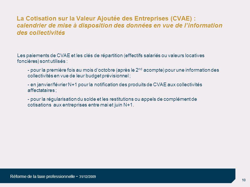 La Cotisation sur la Valeur Ajoutée des Entreprises (CVAE) : calendrier de mise à disposition des données en vue de l'information des collectivités