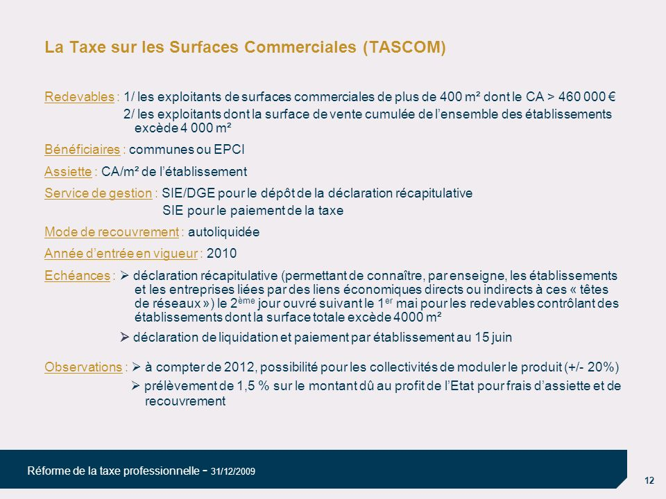 La Taxe sur les Surfaces Commerciales (TASCOM)