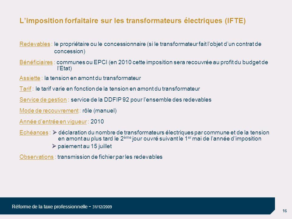 L'imposition forfaitaire sur les transformateurs électriques (IFTE)