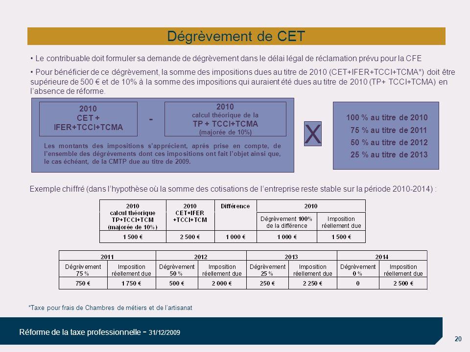 X Dégrèvement de CET - 100 % au titre de 2010