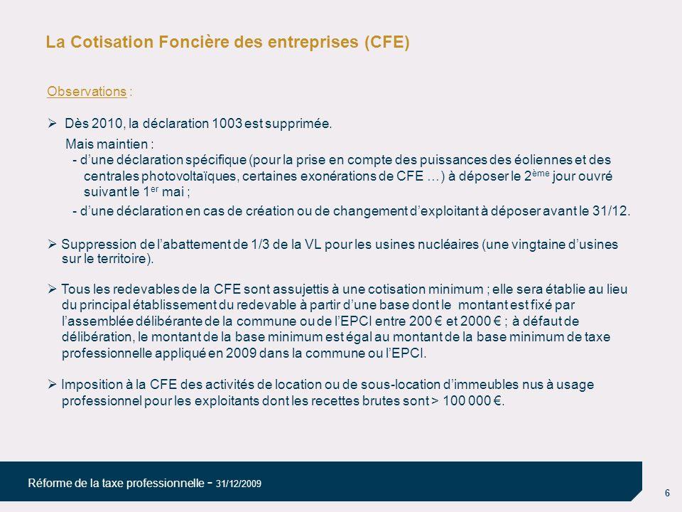La Cotisation Foncière des entreprises (CFE)