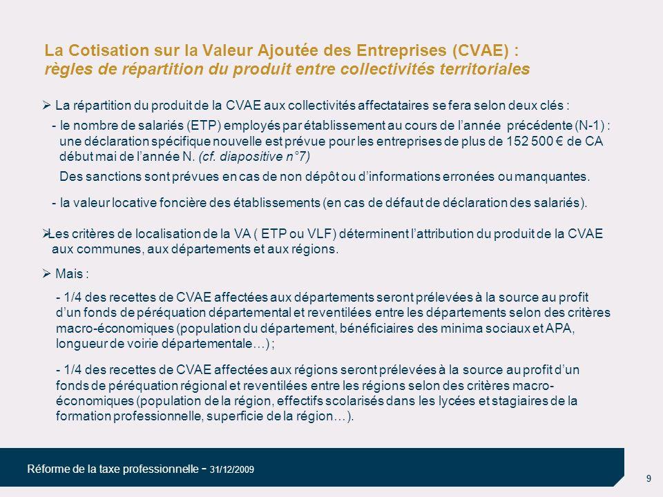 La Cotisation sur la Valeur Ajoutée des Entreprises (CVAE) : règles de répartition du produit entre collectivités territoriales