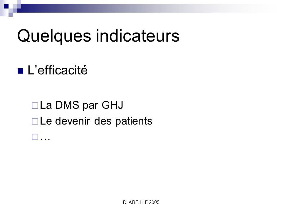 Quelques indicateurs L'efficacité La DMS par GHJ