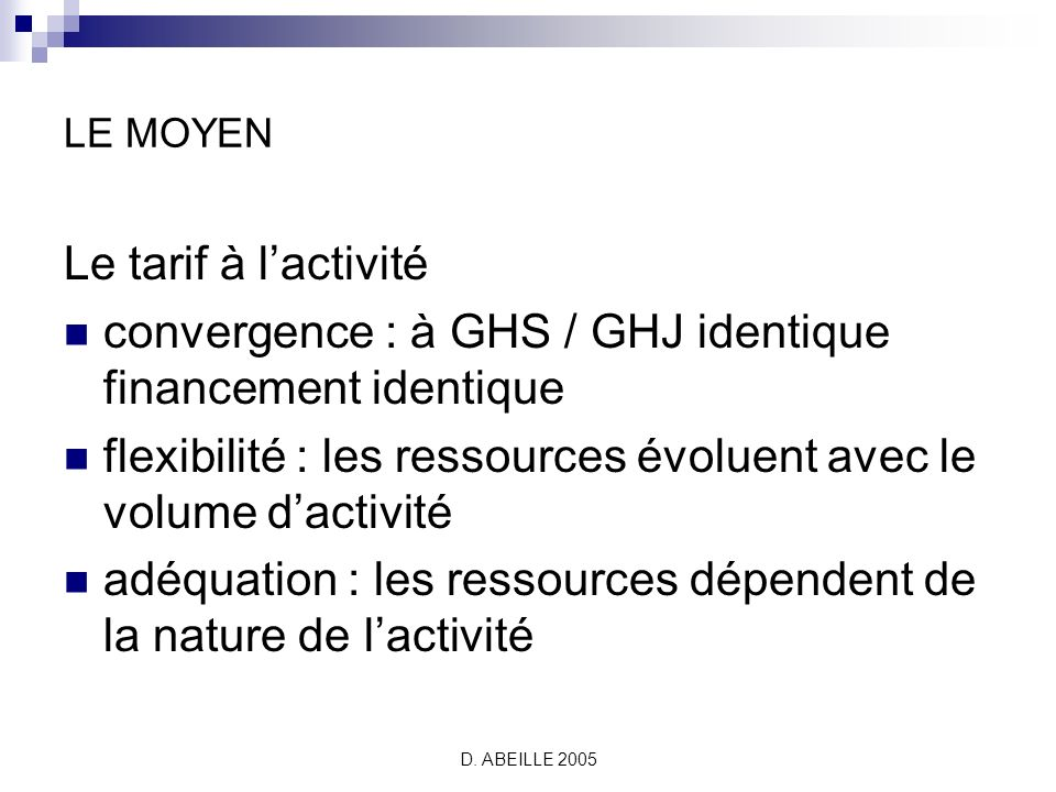 convergence : à GHS / GHJ identique financement identique