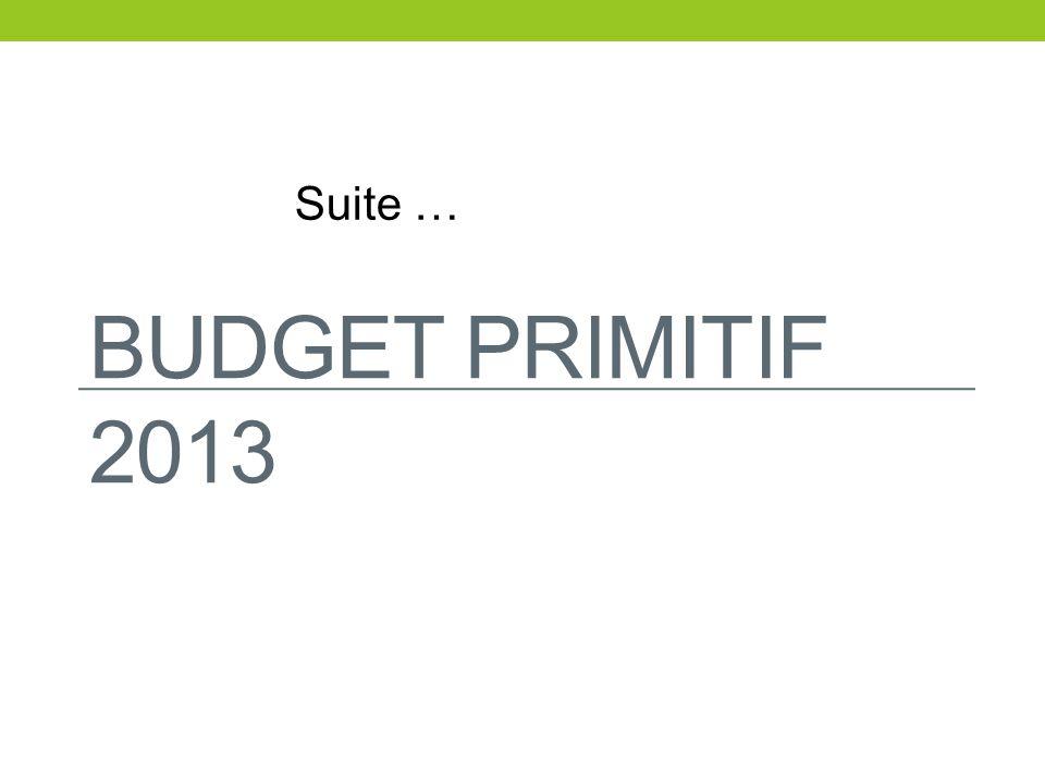 Suite … BUDGET PRIMITIF 2013
