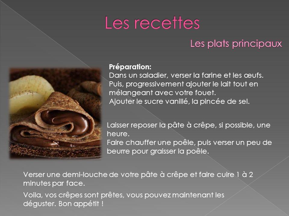 Les recettes Les plats principaux Préparation: