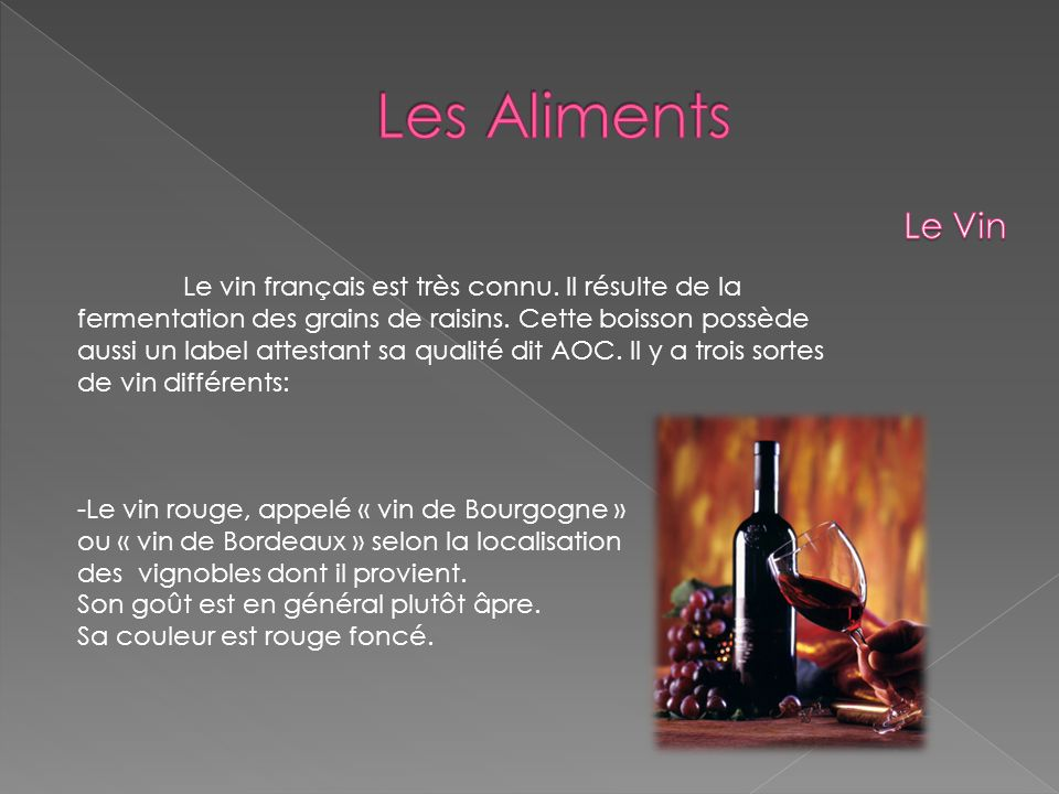 Les Aliments Le Vin.