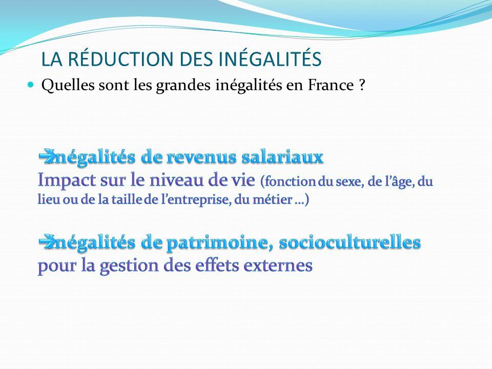 LA RÉDUCTION DES INÉGALITÉS