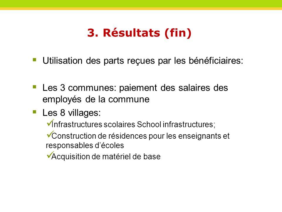 3. Résultats (fin) Utilisation des parts reçues par les bénéficiaires: