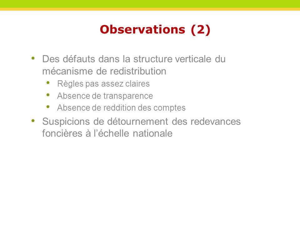 Observations (2) Des défauts dans la structure verticale du mécanisme de redistribution. Règles pas assez claires.
