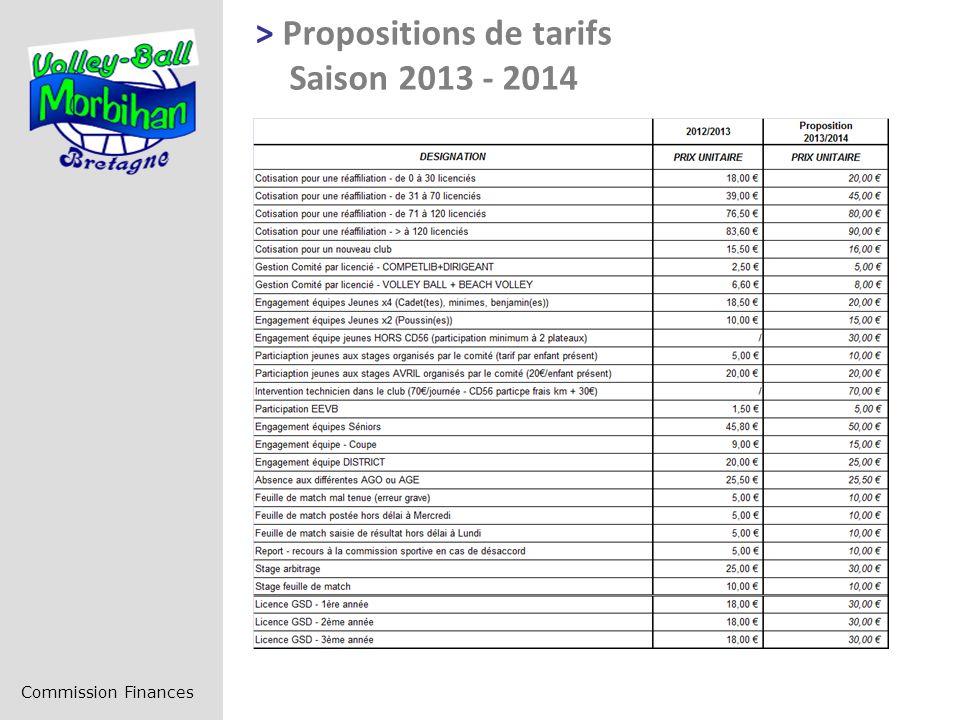 > Propositions de tarifs Saison 2013 - 2014