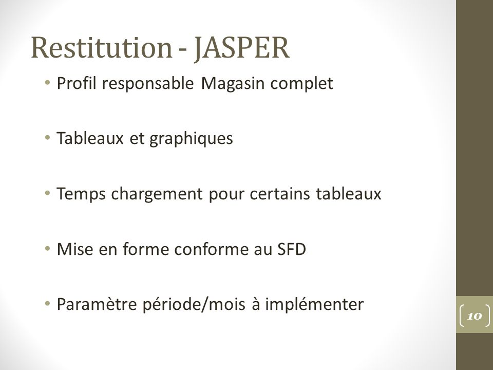 Restitution - JASPER Profil responsable Magasin complet