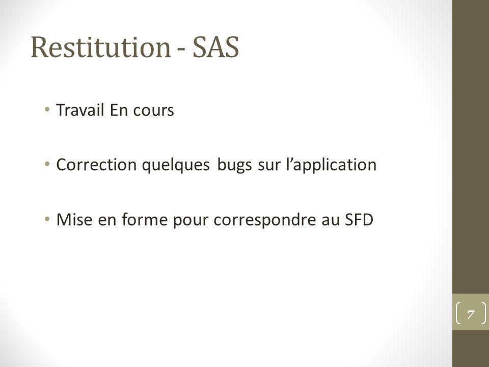 Restitution - SAS Travail En cours